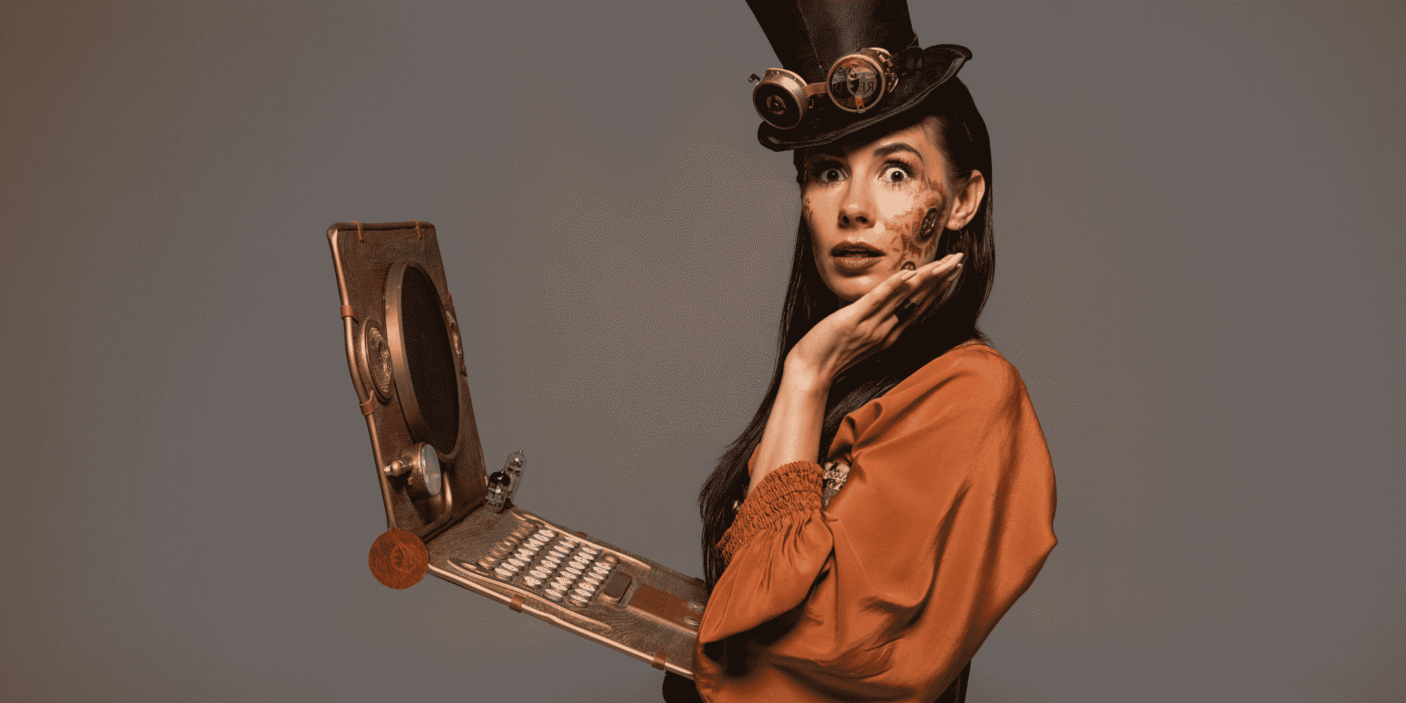 Woman With Shocked Expression and Computer (Steampunk)