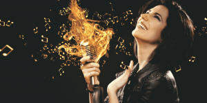 Woman Speaking Into Fiery Microphone
